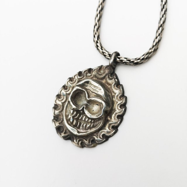 TIBETAN VINTAGE SKULL NECKLACE / 925 Sterling Silver Tibet (Hand Made)