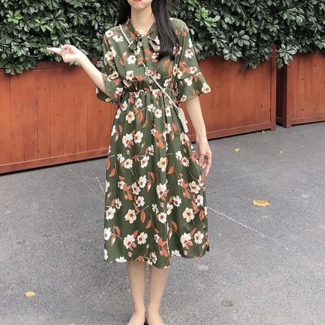 【dress】カジュアルリボン小柄Aラインプリントワンピース