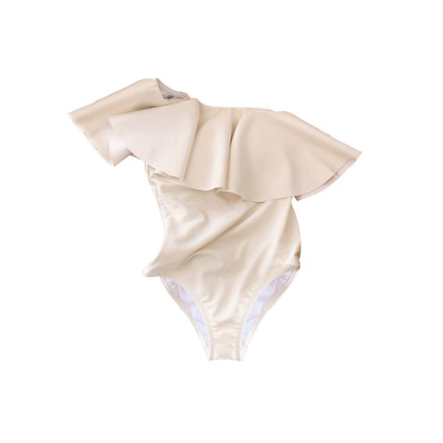 【即納】Cream frill swim wear