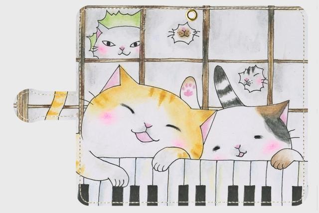 (Android用)鍵盤猫の手帳型スマホケース