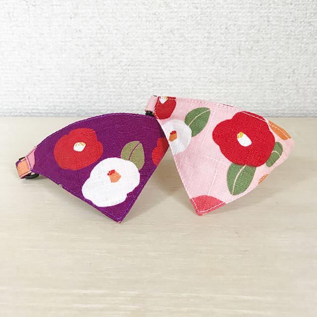 【大椿柄】猫用バンダナ風首輪/選べるセーフティバックル