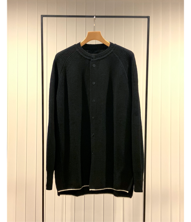 Open Front Ragran-sleeve Sweater / Black