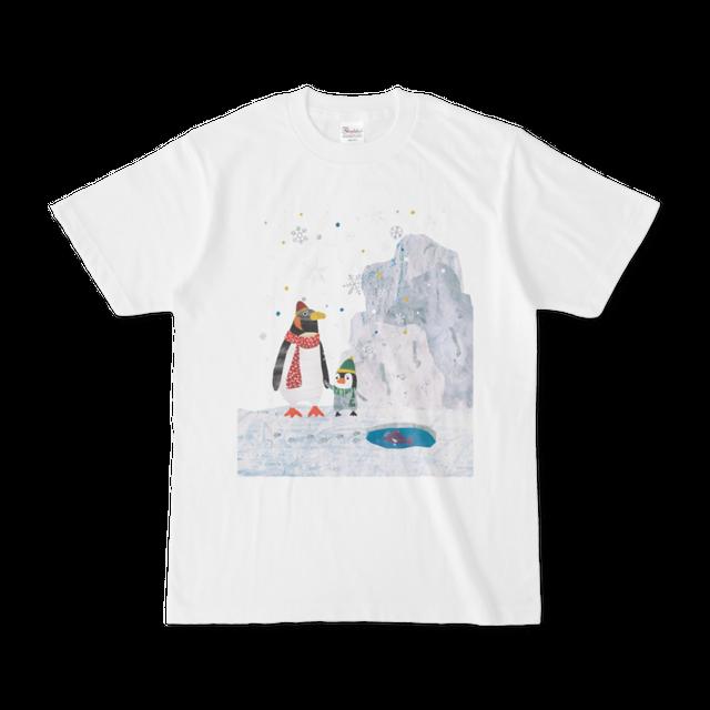 前面プリントイラストTシャツ 『ペンギンおやこ』