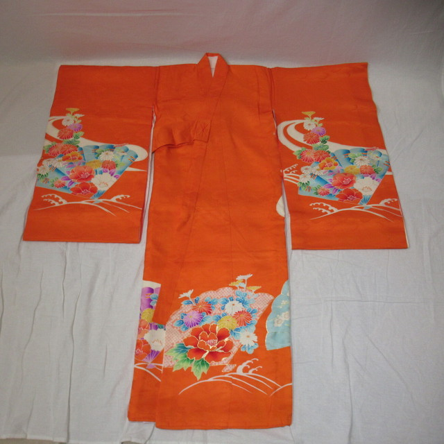 七五三、お宮参り、3歳女児用着物 オレンジ