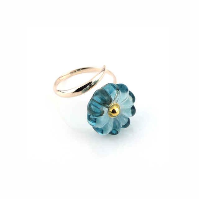"K10_flower glass_ring ""beach blue"""