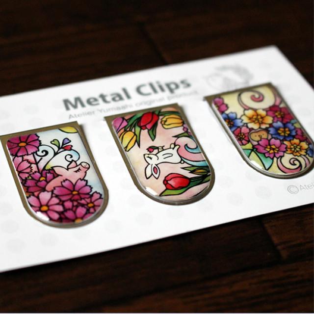 メタルクリップ 3個 Aセット(コスモスとこぶた、チューリップと兎、プリムラと梟)