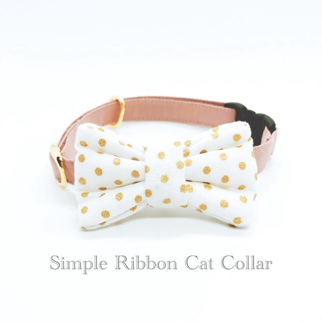 猫 首輪 シンプルリボン アンティークピンク×ホワイト水玉 Robert Kaufman Fabrics  USAコットン