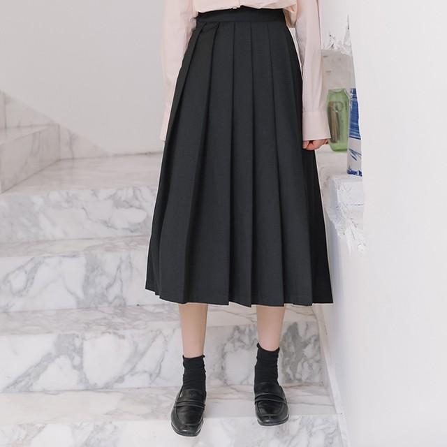 【skirt】学園風レトロ合わせやすいハイウエスト細見え無地プリーツスカート