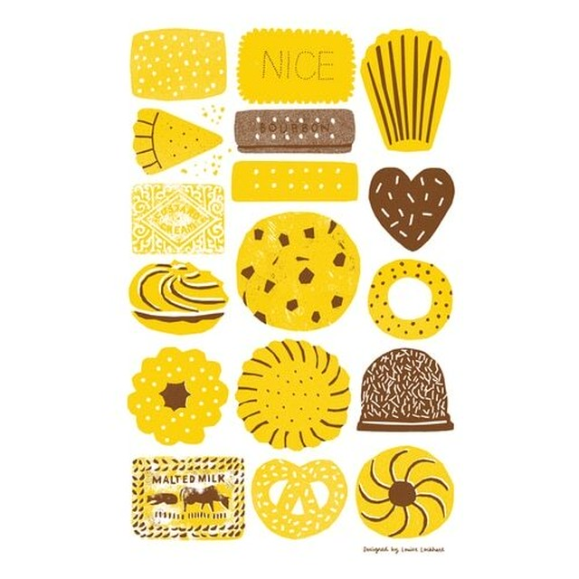 Screen Printed Biscuits Tea Towel