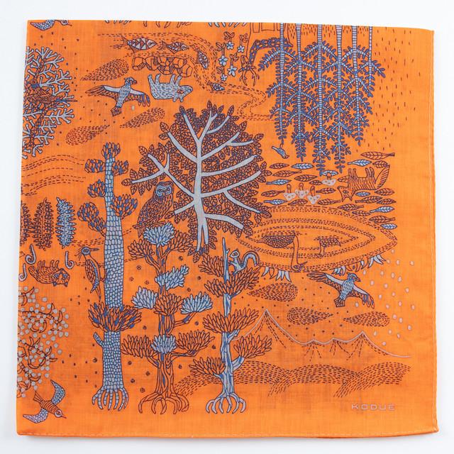ひびのこづえ ハンカチ SHIRETOKO / オレンジ 大判 ガーゼ素材 58x58cm KH20-02