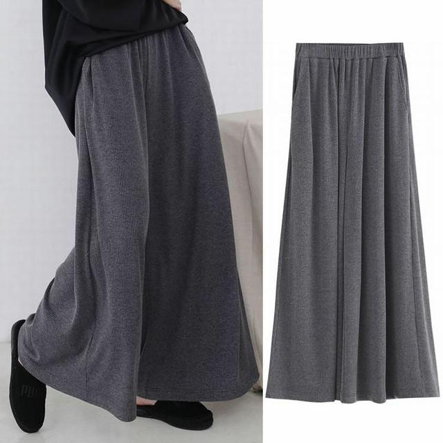 レディース ニット ワイドパンツ ガウチョパンツ ハイウエスト 美シルエット 春コーデ / Women's high waist wide leg pants knit trousers (DCT-576805628412)
