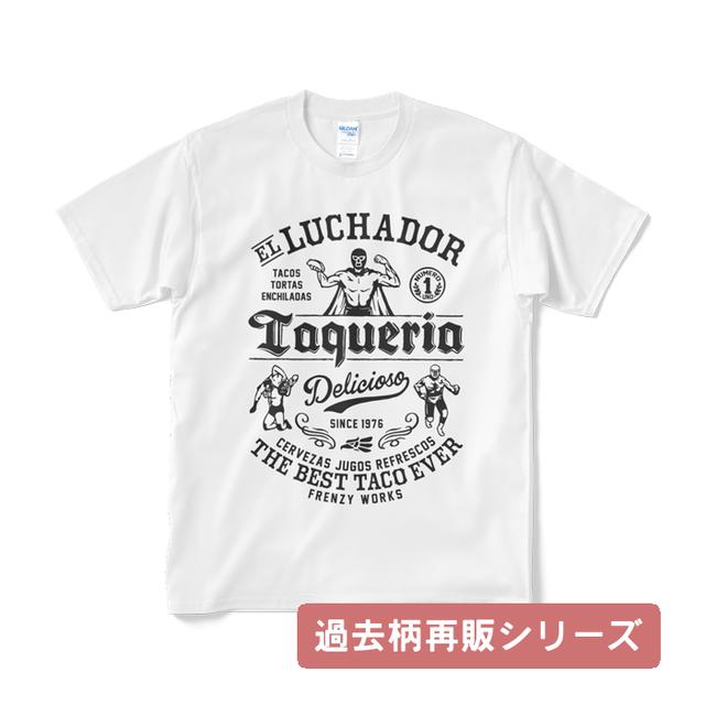 LUCHADOR WHITE レスラーのタコス屋さん ルチャドール ルチャリブレ 白Tシャツ ブラックプリント