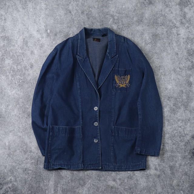 "90s  "" Liz Sport ""  Denim Tailored Jacket  90年代 デニムテーラードジャケット 古着 A619"