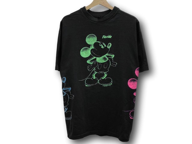80~early90s MICKEY MULTICOLOR RUBBER PRINT TEE BLACK XL MADE IN USA