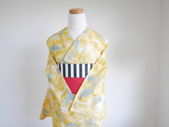 F様専用【S-14】 丈157 裄63.5 黄色 青色 葉柄 鮮やか 絞り 浴衣 リサイクル