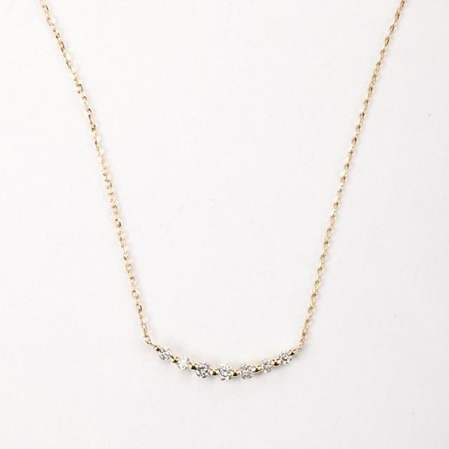 ダイヤモンド バーネックレス 0.10ct K18イエローゴールド/ホワイトゴールド   チェカ