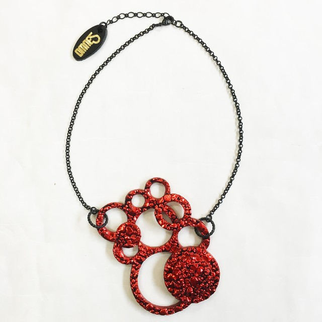 Motif Necklace [Water Drop] Red×Navy