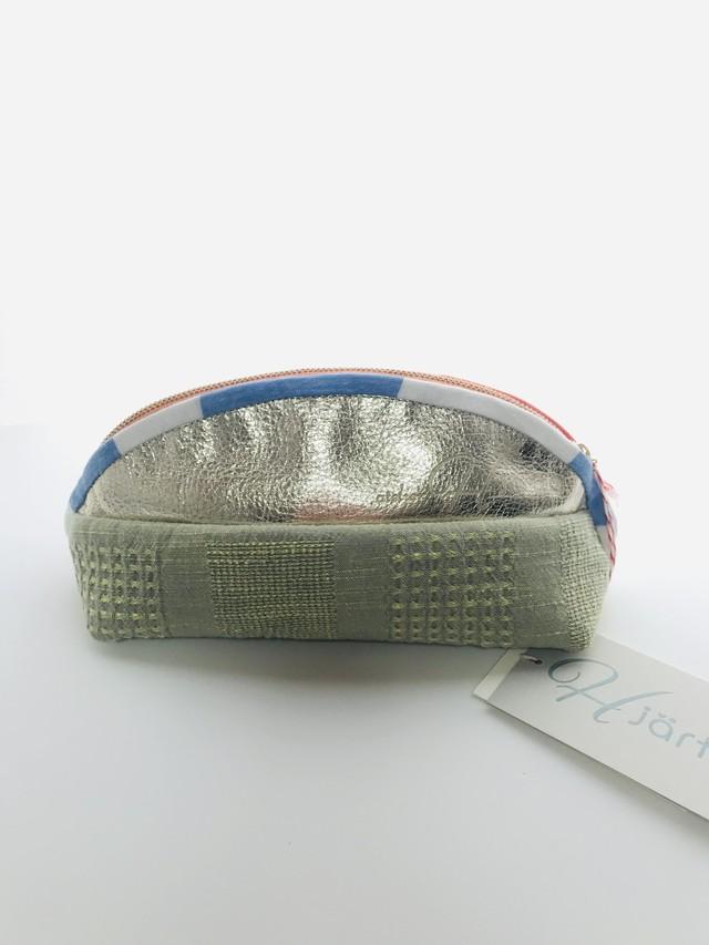 combine color pouch 遠州織物×本革