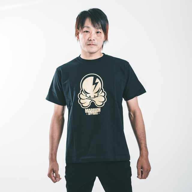 【Cotton100%】OCTOPUS SKULL Tee (Black×Gold)