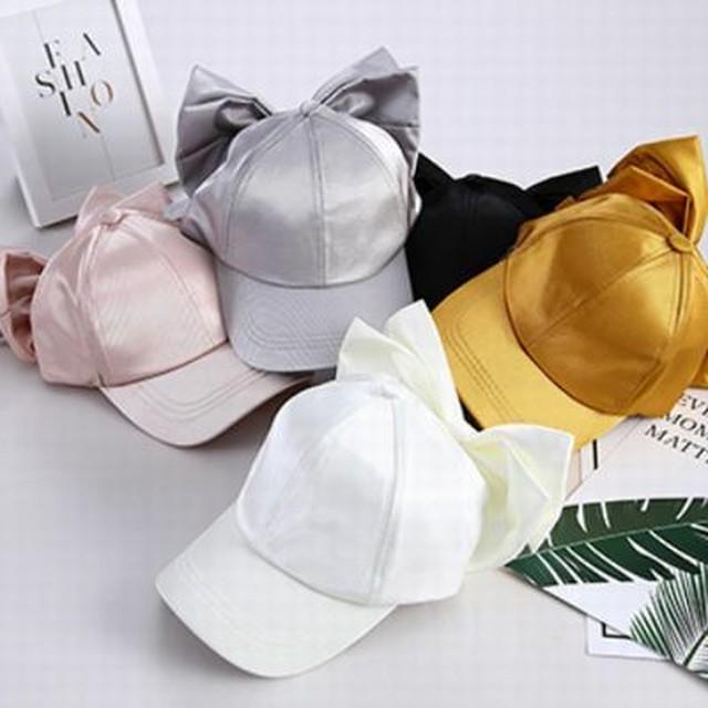 バック ビッグ リボン キャップ ★ 5~12歳 5カラー 調節可能 帽子 メタル カラー 2019s/s 韓国 子供服 女の子 /C003