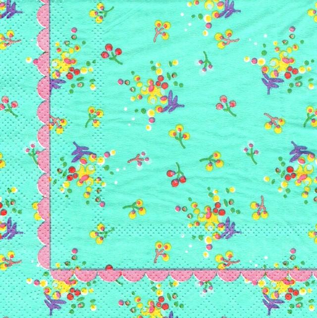 北欧|新入荷【rice】バラ売り1枚 カクテルサイズ ペーパーナプキン FLOWER PRINT ブルー
