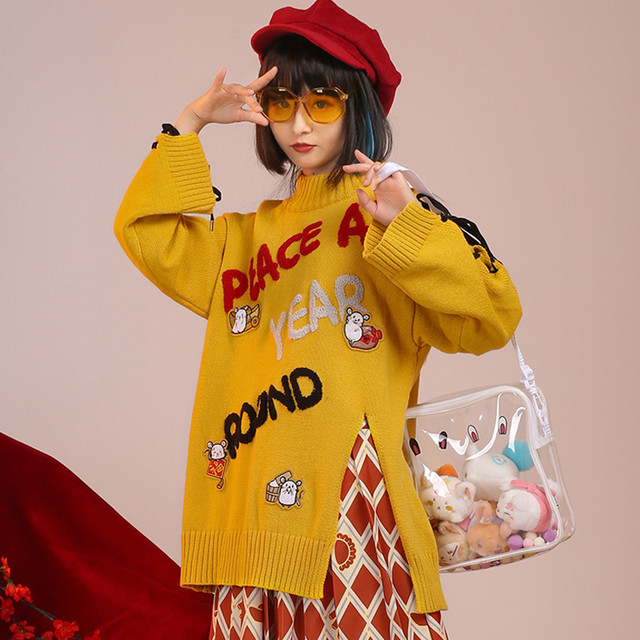 【元素咒印シリーズ】★セーター★ オリジナル チャイナ服 S M L 合わせやすい アルファベット イエロー 黄色い