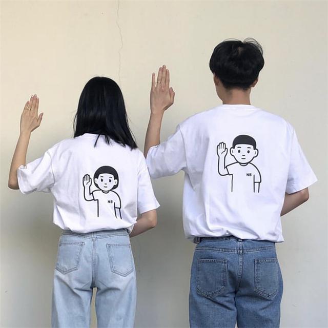 【tops】キャラクタープリントファッションカジュアルカップル半袖Tシャツ