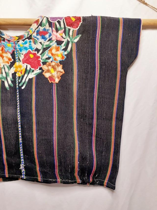民族衣装ウイピル・花柄×縞柄(グアテマラ)