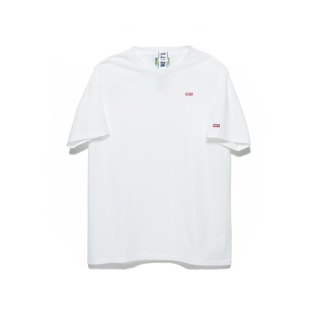 WEST OVERALLS West's Embroidery T-Shirt White×Red 18SWTS03A-RED