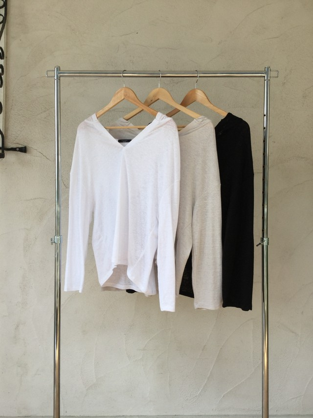 Hoodie Linen L/S Tee《WHT/GRY/BLK》20383016