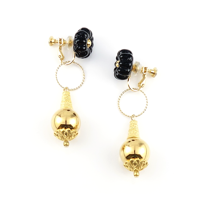 "【2way】 flower glass_earrings ""dark night"" a008"
