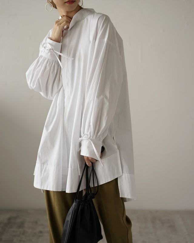タイプライター袖リボンビッグシャツ  White