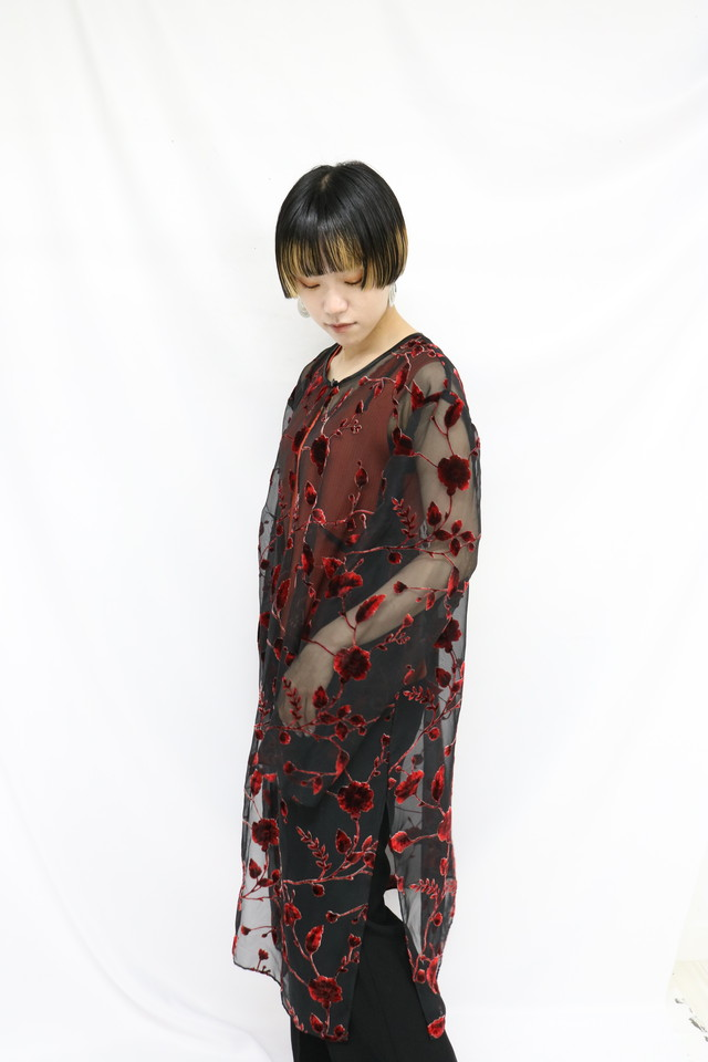 flower pattern see-through gown / 5SSOU08-11