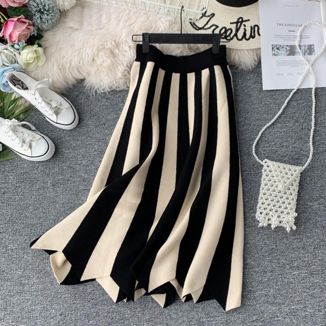 ストライプデザインニットスカート*3color 100065