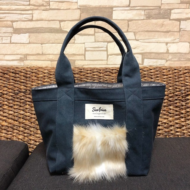 Fake fur Pocket Tote bag S - Charcoal gray