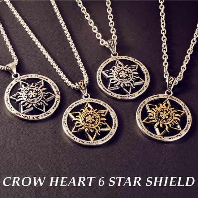 【BISITE】六芒星 ネックレス ゴールド&ブラック/シルバー&ブラック / Crow heart 6 star star shield pendant (DCT-565721999964)