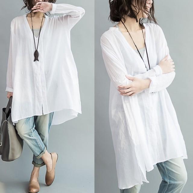 レディース ホワイト ロングシャツ シャツ トップス  大きいサイズ ゆったり薄手 roi5 (zwma067)
