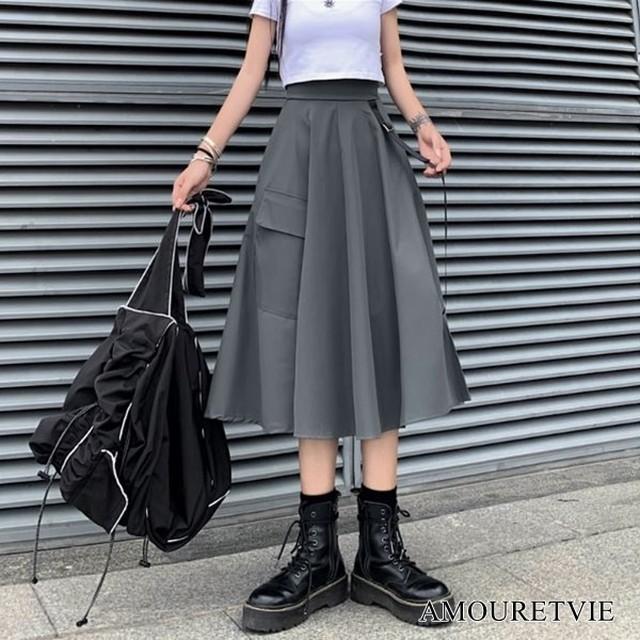 ロングスカート ミドル Aライン シック スタイリッシュ モダン グレー ブラック ギャザー スマート オルチャン 韓国ファッション 1454
