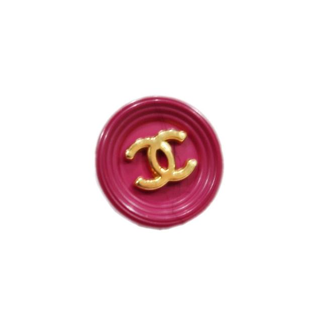 【VINTAGE CHANEL BUTTON】ピンク ゴールドココマーク ボタン15㎜ C-19102