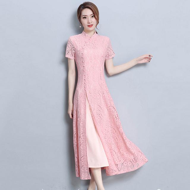 アオザイ ベトナム 民族風 ロングドレス サイドスリット ワンピース 二次会 謝恩会 お呼ばれ S~5L 7color