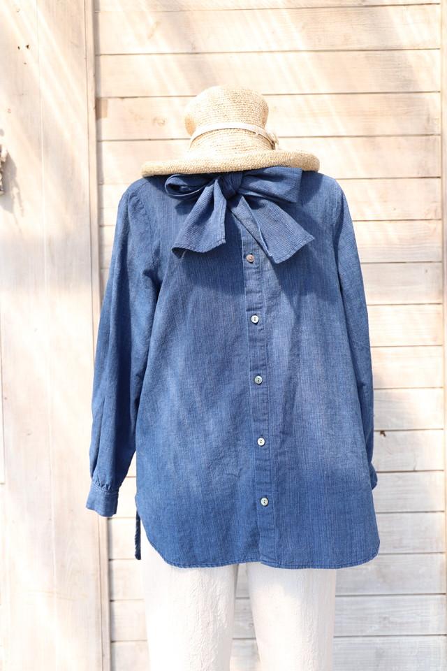 BLK05  ボウタイ付襟なしブラウス 藍染濃紺無地備後織物(K1)