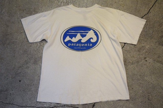 USED patagonia surfboards logo T-shirt 90s made in USA T0450