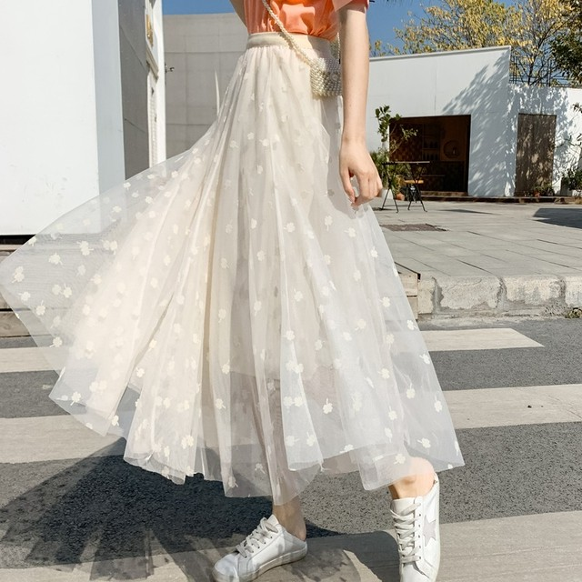 メッシュレース スカート フレアスカート ウエストゴム ミモレ丈 四つ葉 クローバー 透け感 シアー ふんわり かわいい 春夏 2color TP3069