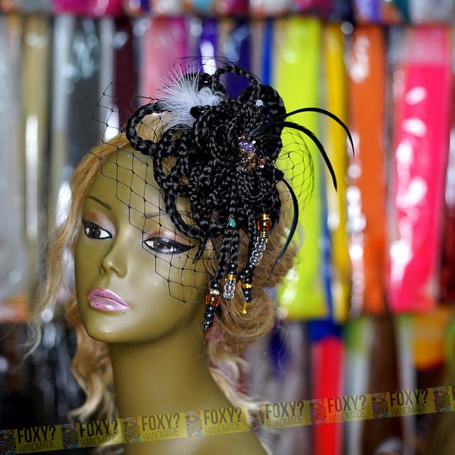 【ブレイズ コサージュ/ヘッドドレス BLACK】1点もの ハンドメイド / 髪飾り ヘッドドレス