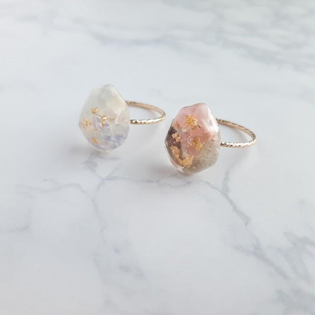 3色の天然石*winterリング*サイズが選べる*ゴールドフィルド