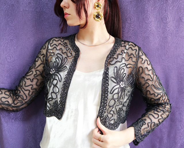Code embroidered cardigan