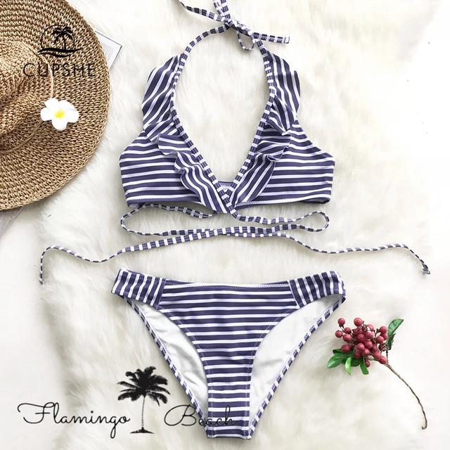 【FlamingoBeach】stripe bikini