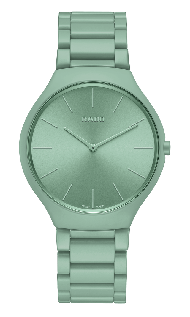 【RADO ラドー】True Thinline Les Couleurs™ Le Corbusier  Slightly greyed English green 32041 シンライン ル・コルビュジエ(グリーン)/正規輸入品
