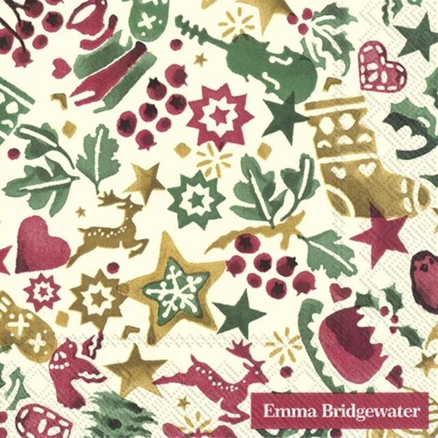2021秋冬【Emma Bridgewater】バラ売り2枚 カクテルサイズ ペーパーナプキン CHRISTMAS CELEBRATION クリーム