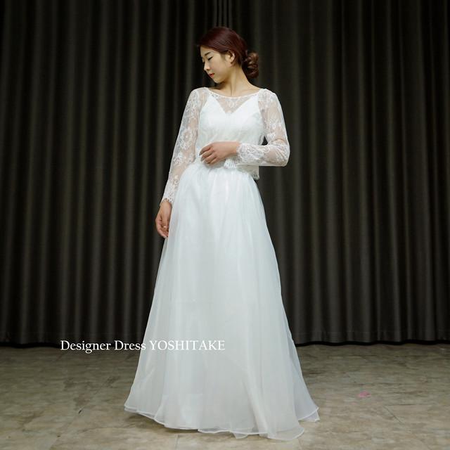 セパレート・カジュアル・ウエディング白ドレス(3点ボレロ・インナー・スカート)